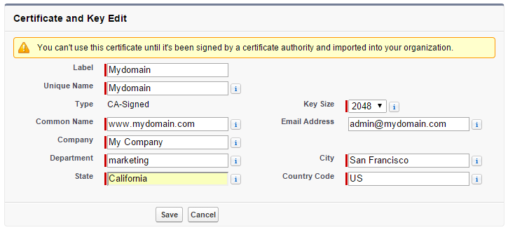 Salesforce Certificate Edit Screen